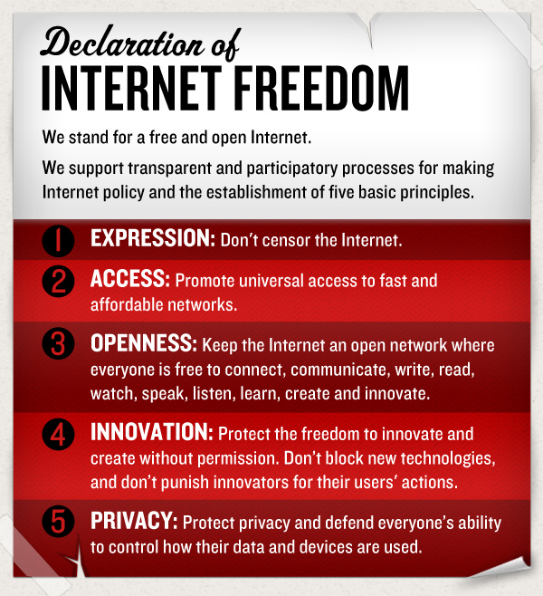 A Declaration of Internet Freedom  We stand for a free and open Internet.  We support transparent and participatory processes for making Internet policy and the establishment of five basic principles:  Expression: Don't censor the Internet.  Access: Promote universal access to fast and affordable networks.  Openness: Keep the Internet an open network where everyone is free to connect, communicate, write, read, watch, speak, listen, learn, create and innovate.  Innovation: Protect the freedom to innovate and create without permission. Don't block new technologies, and don't punish innovators for their users' actions.  Privacy: Protect privacy and defend everyone's ability to control how their data and devices are used.